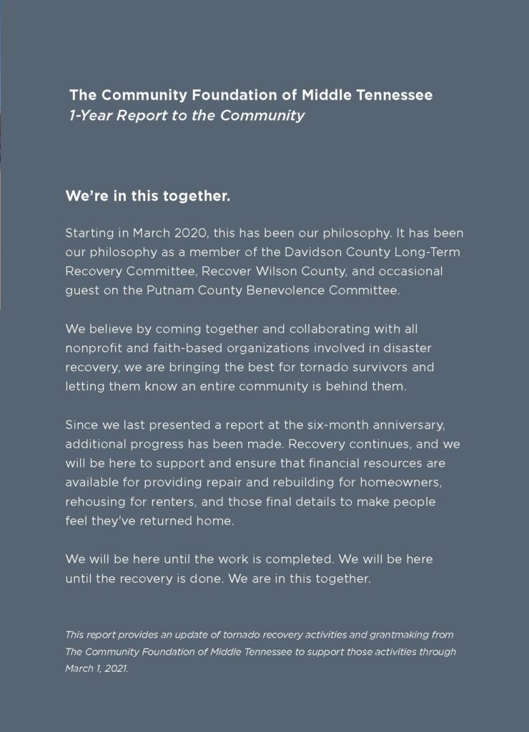 We're in this together. Starting in March 2020, this has been our philosophy. It has been our philosophy as a member of the Davidson County Long Term Recovery Committee, Recover Wilson County, and occasional guest on the Putnam County Benevolence Committee.