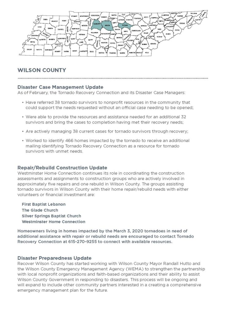 Repair/Rebuild Construction Update Westminster Home Connection continues its role in coordinating the construction assessments and assignments to construction groups who are actively involved in approximately five repairs and one rebuild in Wilson County.